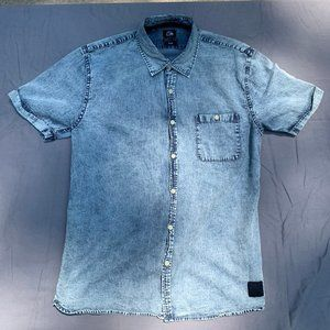 Quiksilver Faded Denim Short-Sleeve Slim Fit Shirt